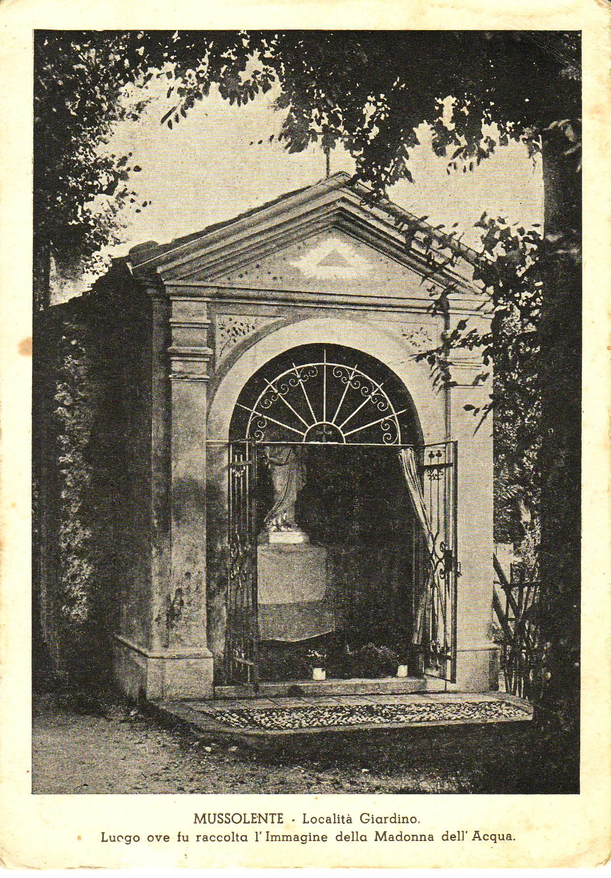 Cartolina capitello Madonna Acqua anni 1930-40